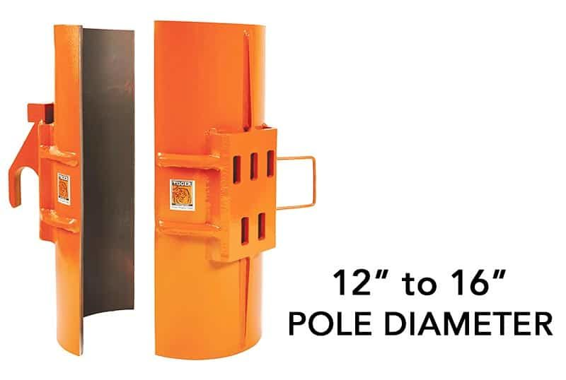 """SP100 is a Clamshell attachment to remove 12"""" to 16"""" metal poles"""